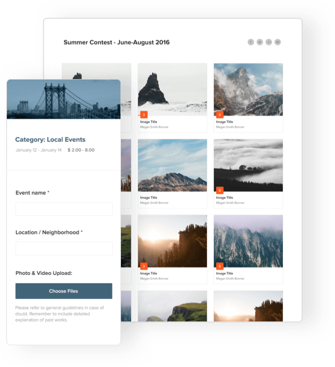 Display galleries and host voting with content submission galleries