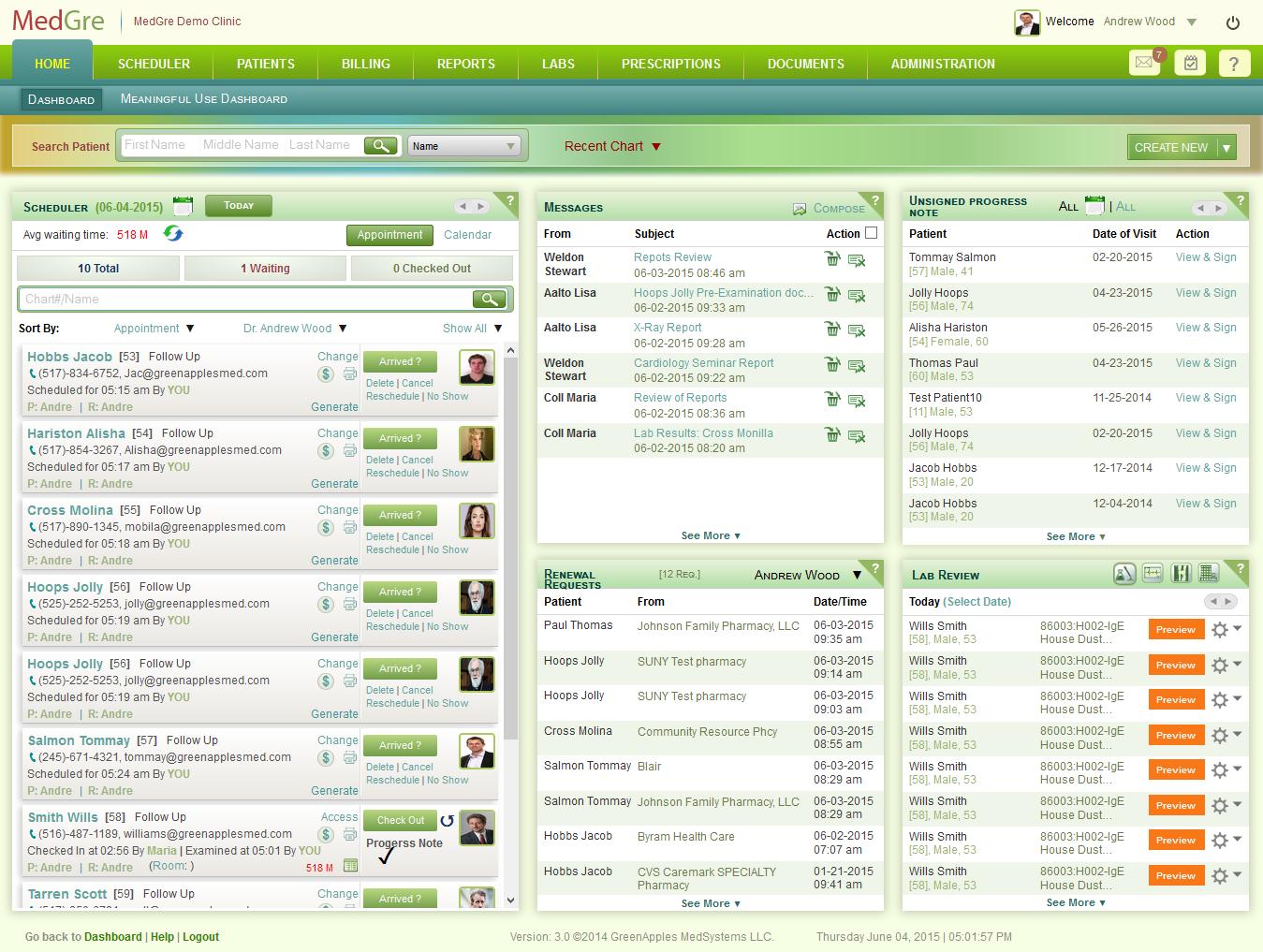MedGre Software - MedGre dashboard