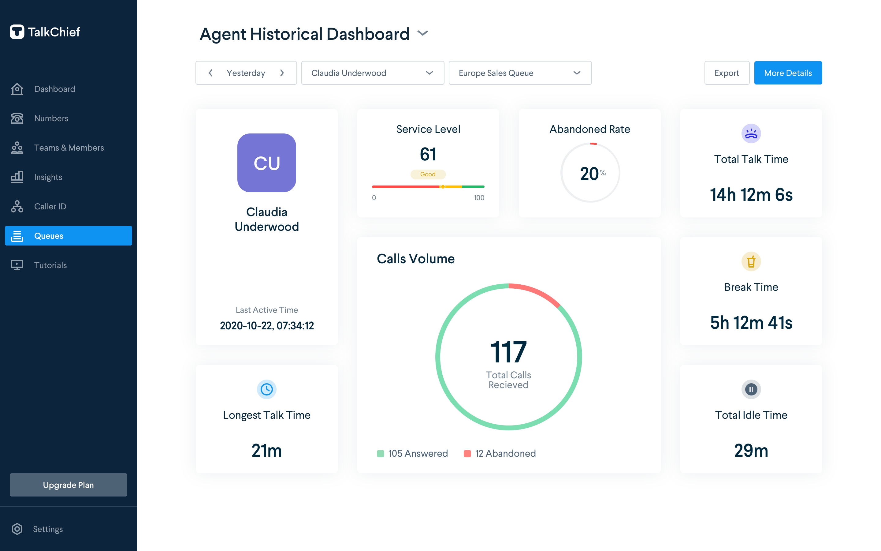 TalkChief agent dashboard