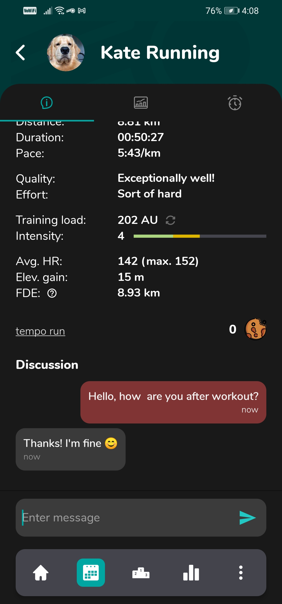 Android app workout details (dark mode)