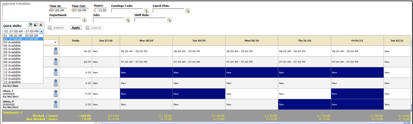 ezLaborManager schedules