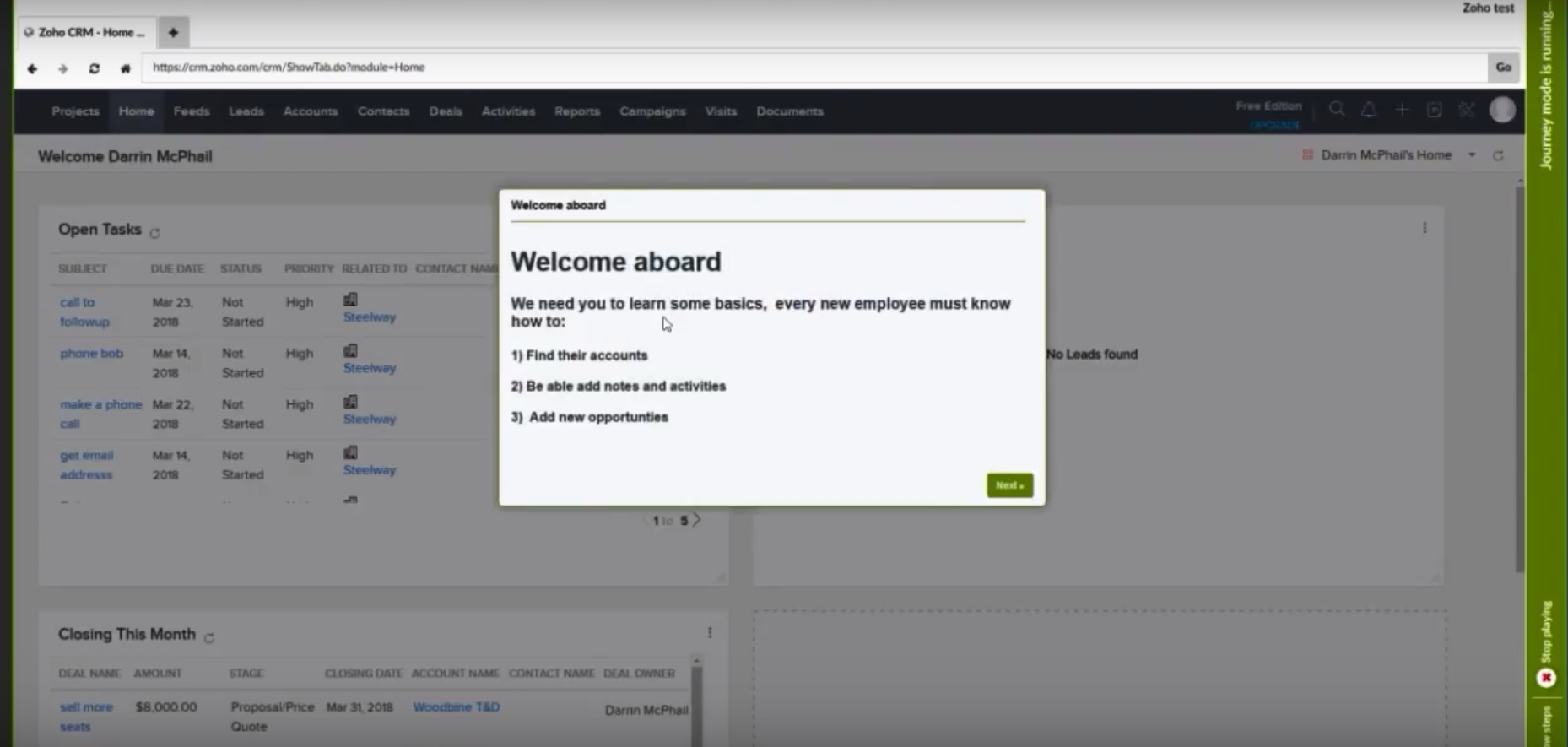 Newired employee onboarding screenshot