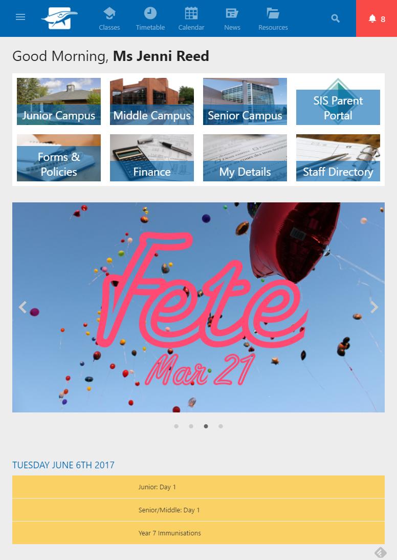 Schoolbox Software - Schoolbox iPad interface screenshot