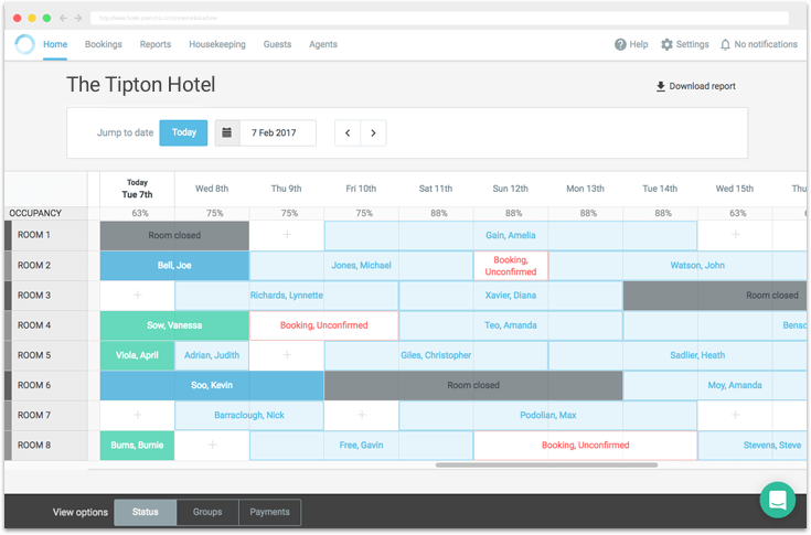 See all bookings visually on the grid and switch between the booking status, group bookings and payments recorded