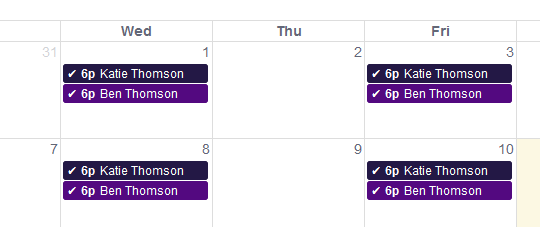 Personal calendars enable teachers, parents, and students to have online access to the scheduling of their sessions, with updates universally applied across all corresponding accounts