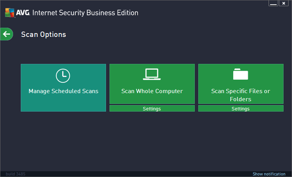 AVG Internet Security Business Edition Software - Scan options