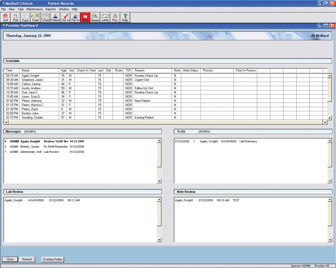 Medisoft Clinical Software - Provider dashboard