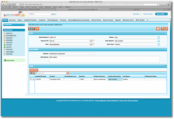 Updating cases in ServiceMax