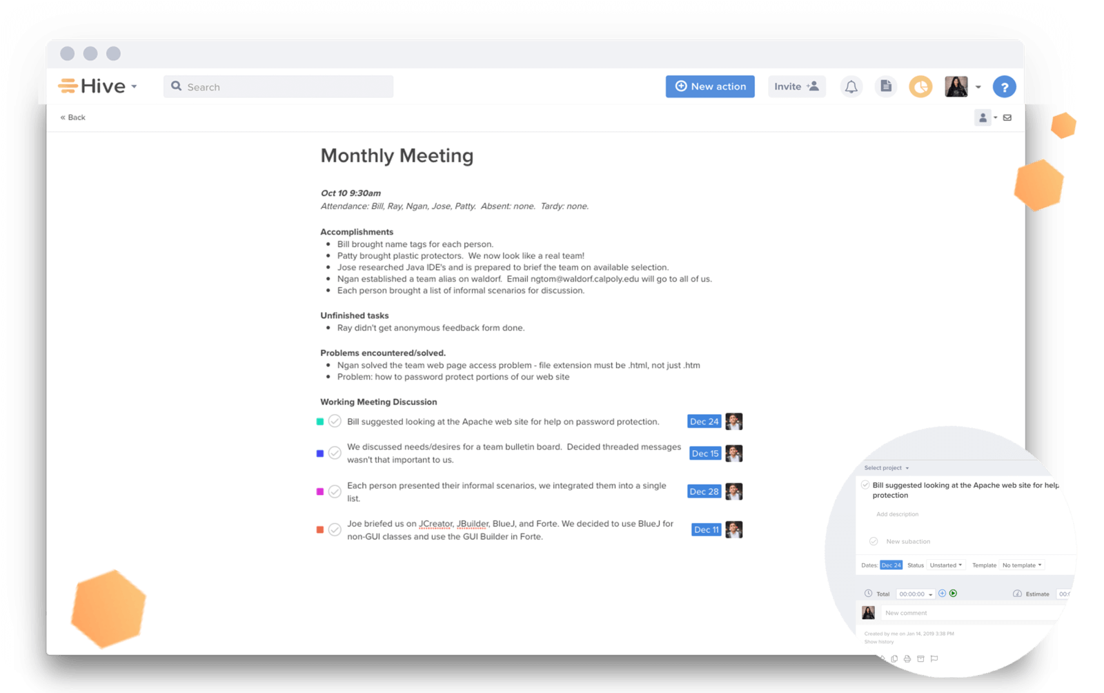 Take notes with Hive Notes and assign next steps and action items.