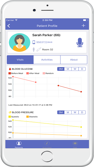Monitor patient vitals and use voice logging features