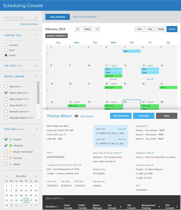 Track and manage patient visits from the scheduling console