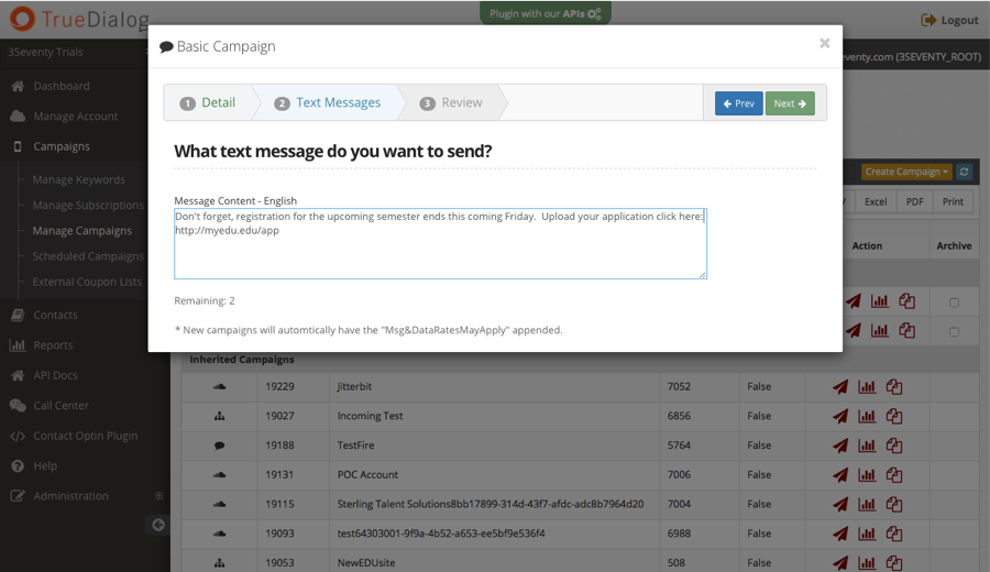TrueDialog screenshot: TrueDialog basic campaign setup