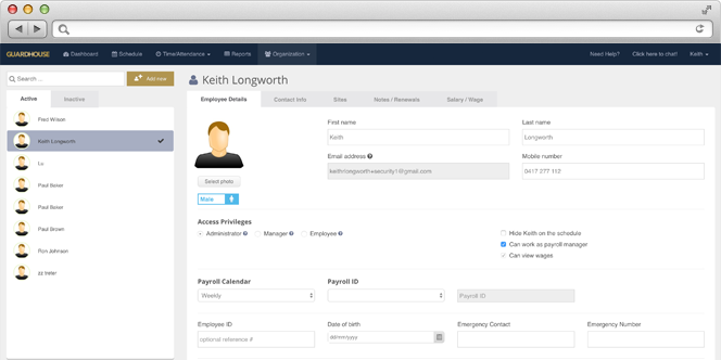 Guardhouse Software - View each employee's details including their photo, contact info, payroll calendar, sites, and more in one place