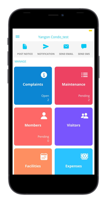 Admin App for Security guard, Helpdesk, Managers for manage complaints, Maintenance bills, property members, Visitors, Facilities, Expenses