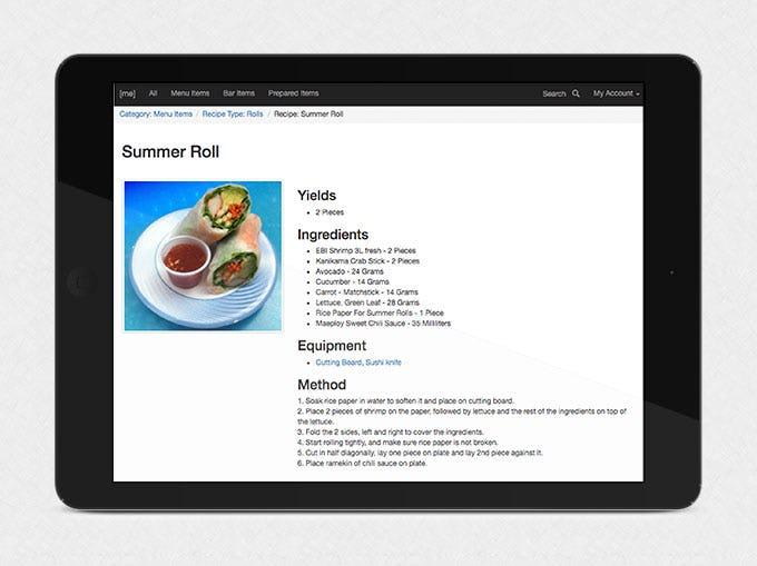 MarginEdge Software - MarginEdge recipe management screenshot