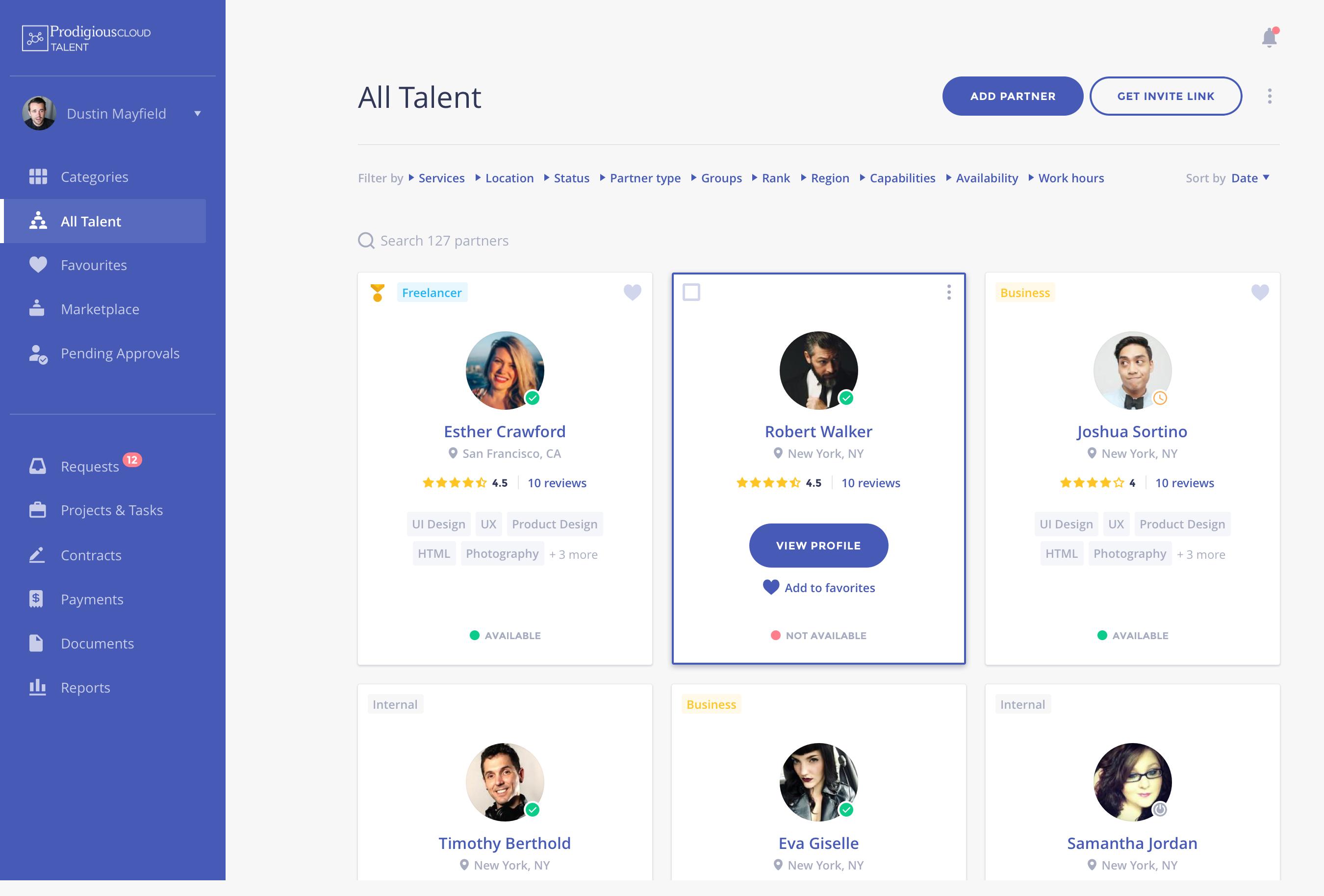 Shortlist screenshot: Organize your talent