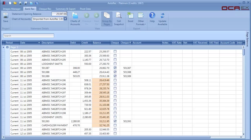 Data extracted from scanned documents is displayed in an AutoRec spreadsheet