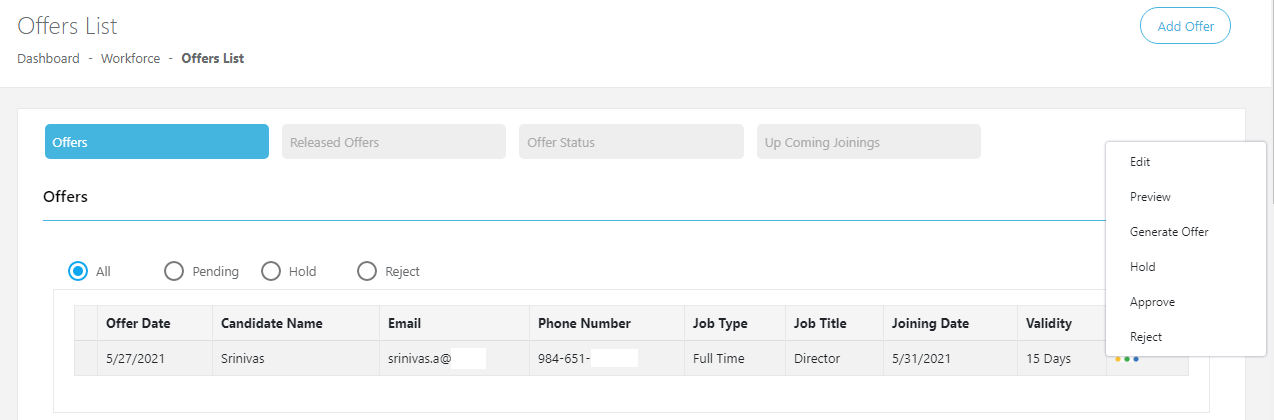 The section showing the offered candidate details like the offered date, joining date, contact details, etc and also the options to edit, preview, accept or reject the offer.