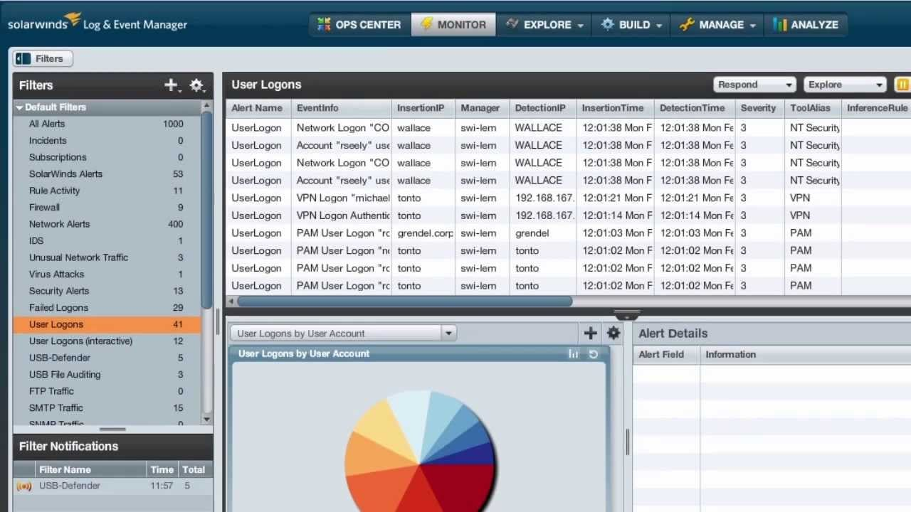 Security Event Manager Software - Creating filters