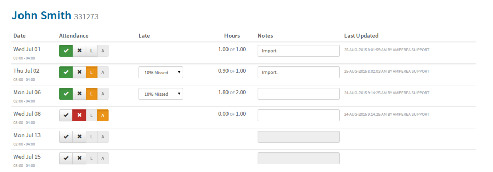 Track & view student attendance, and add notes