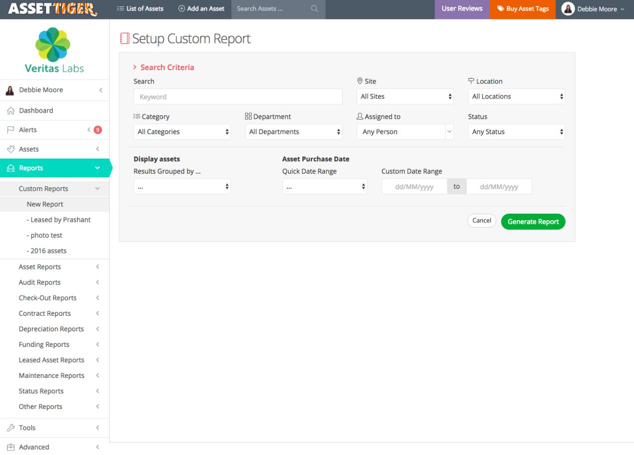 AssetTiger sret up custom report