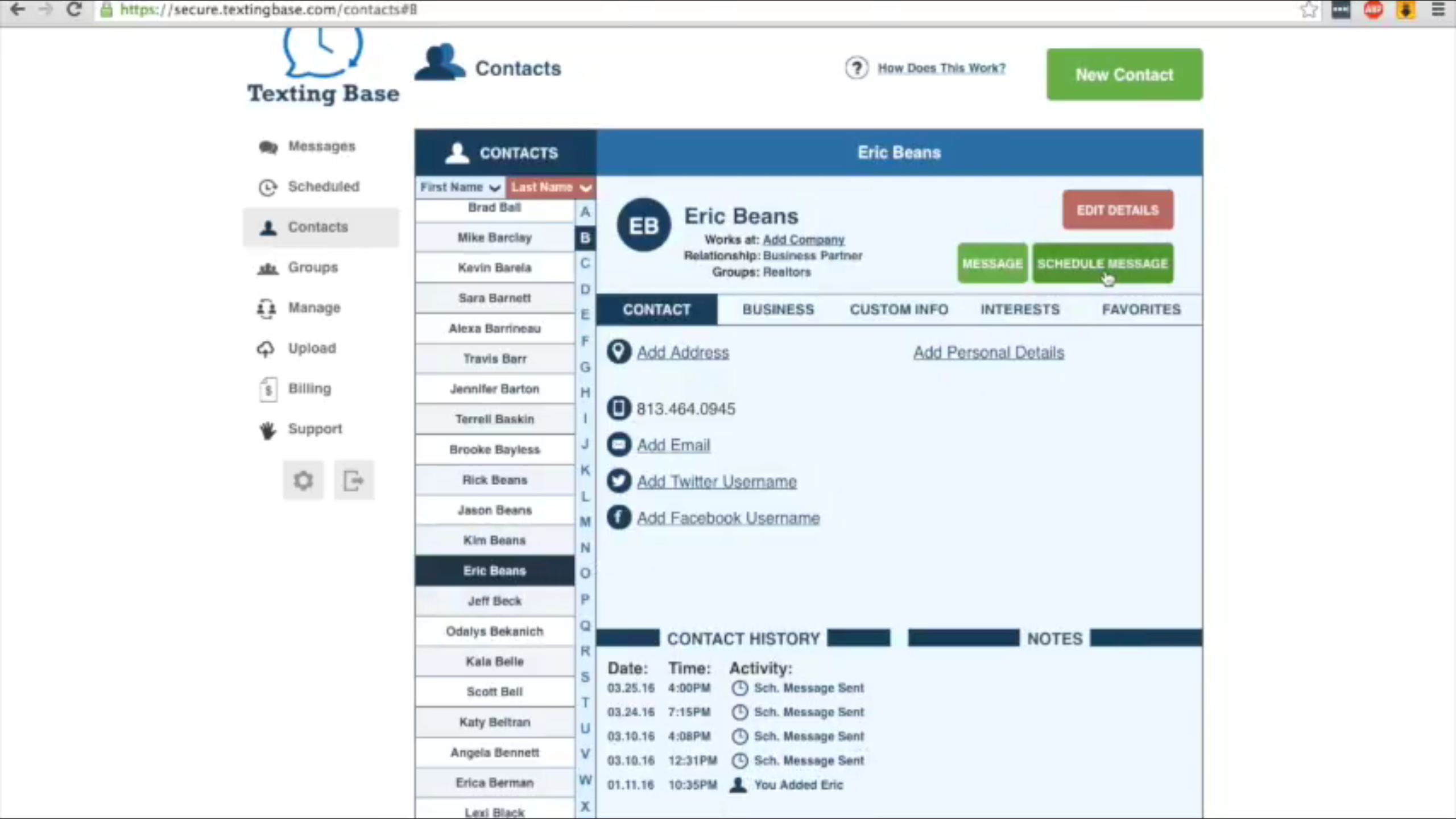 With a contact selected, full records can be viewed and edited where necessary along with the option to schedule messages