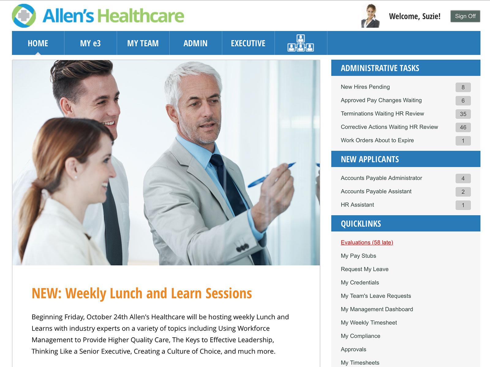 Configurable Company Home Page