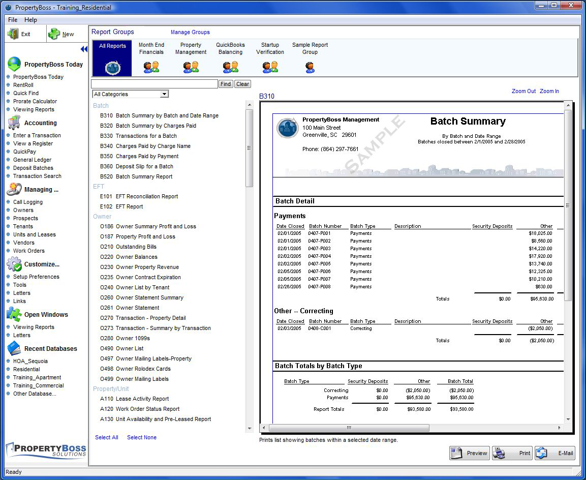 PropertyBoss Software - Industry specific reports