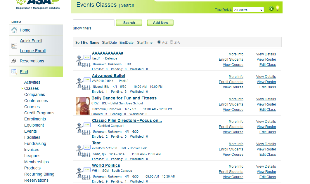 Events and classes