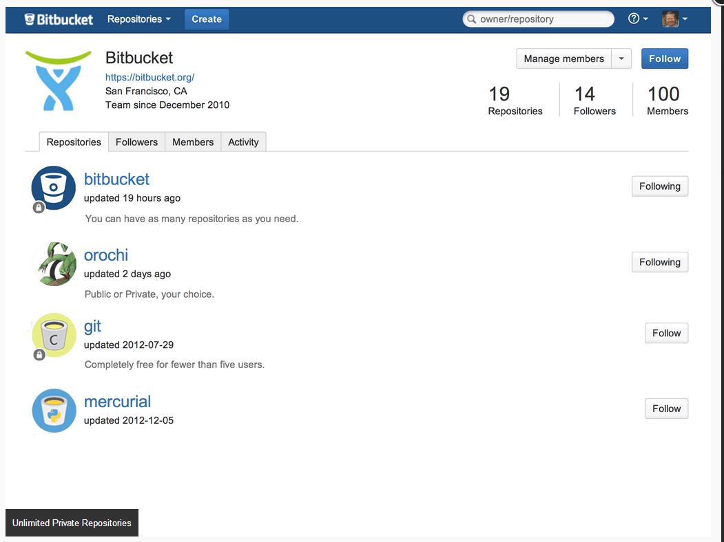 Bitbucket screenshot