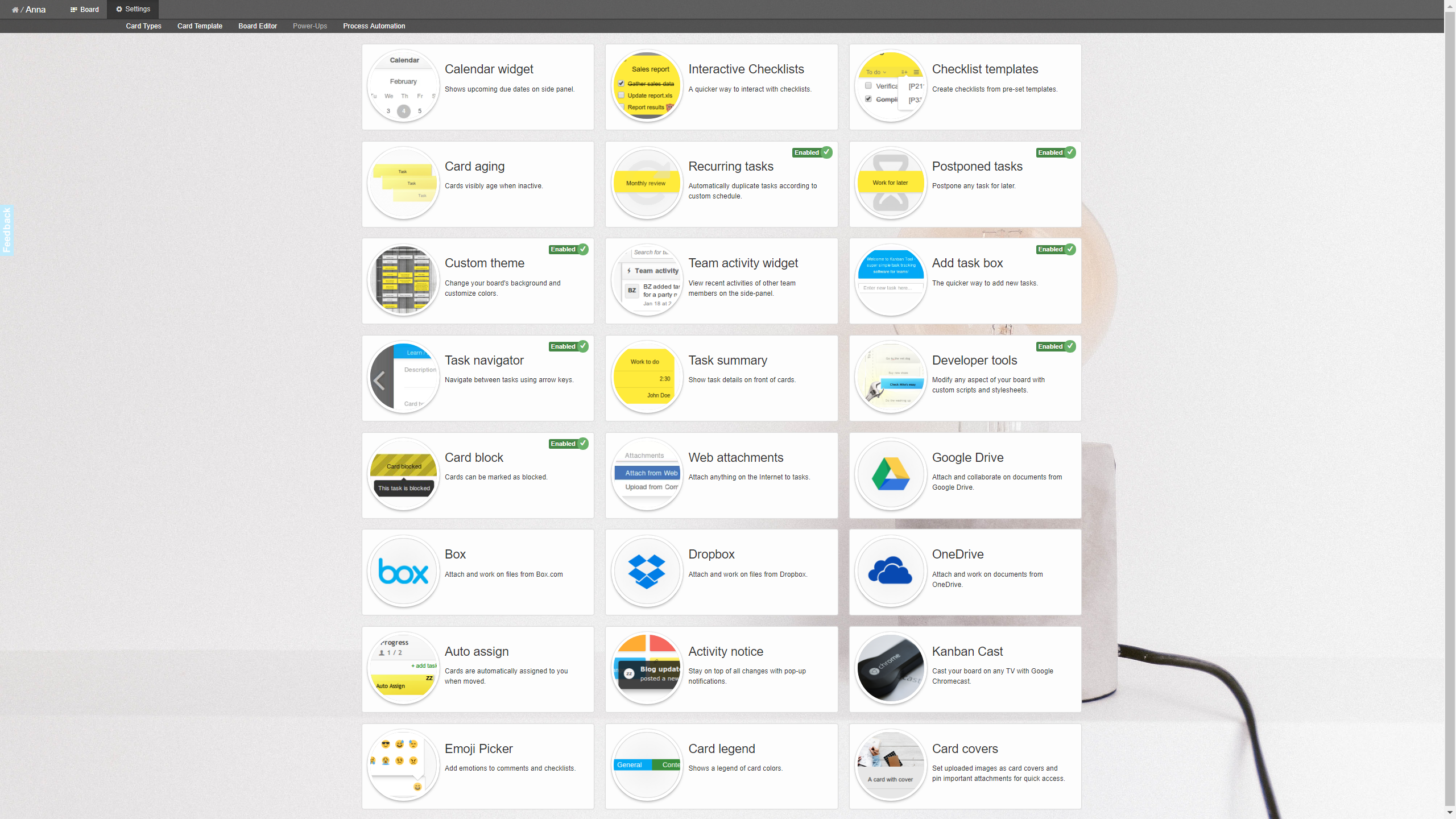 Kanban Tool offers 24 Power-Ups for free. Additionally, Enterprise plan users benefit from Process Automation and Time Tracking & Reporting features.