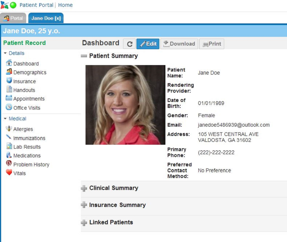 Patients can use the patient porta lot update their profile, make appointments, and access documents