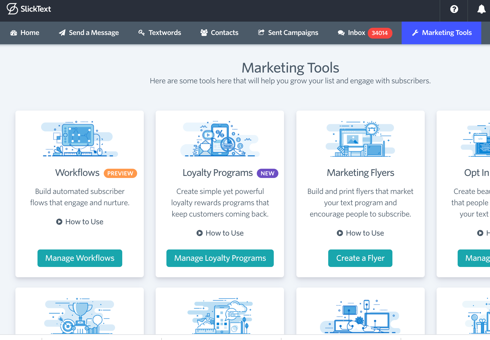 """There are over 200 features within SlickText that help you create custom text messaging campaigns. You can easily locate and select the features you want to use in the """"Marketing Tools"""" tab."""