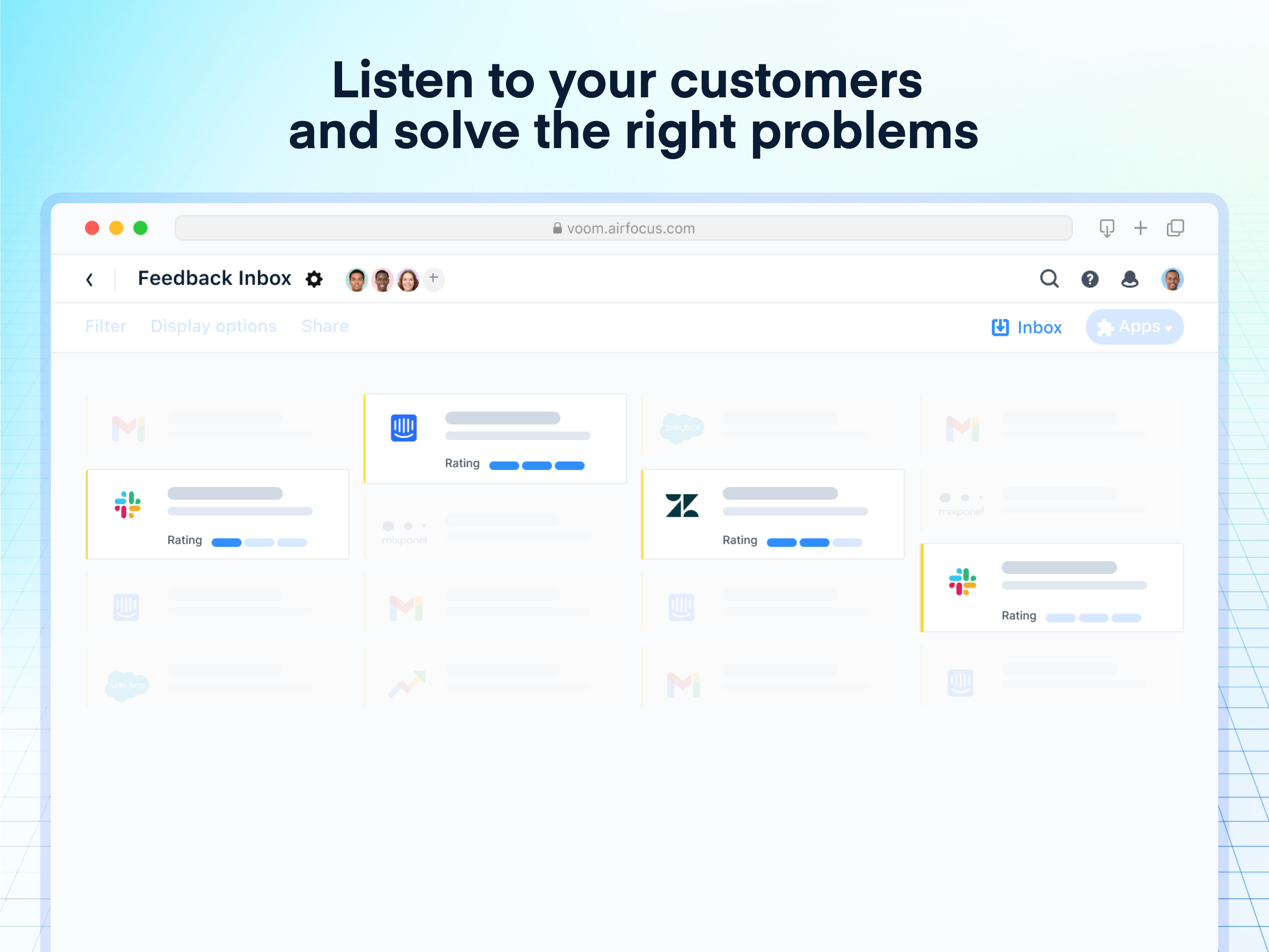 airfocus Software - Listen to your customers and solve the right problems: Centralize feedback from various channels and teams to uncover actionable insights. Cut down on the noise and organize inputs as they come in.