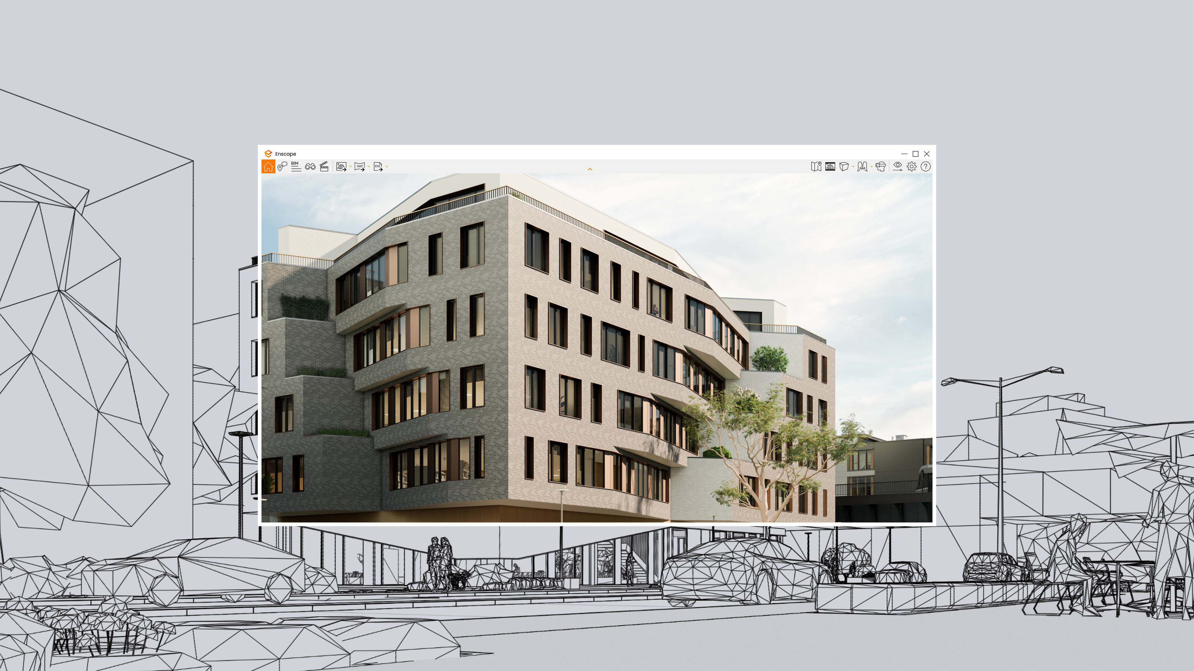 With Enscape, BIM modeling and visualization are finally united. Unlike other renderers, you don't have to stop design to create high-quality visuals.