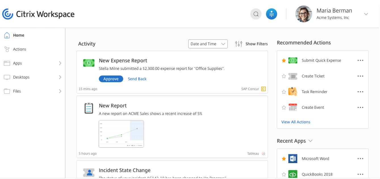 Citrix Workspace screenshot: Citrix Workspace home page