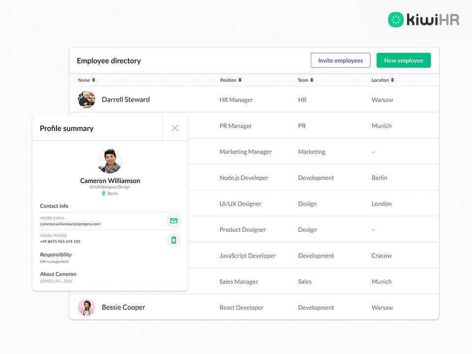 kiwiHR Software - 4