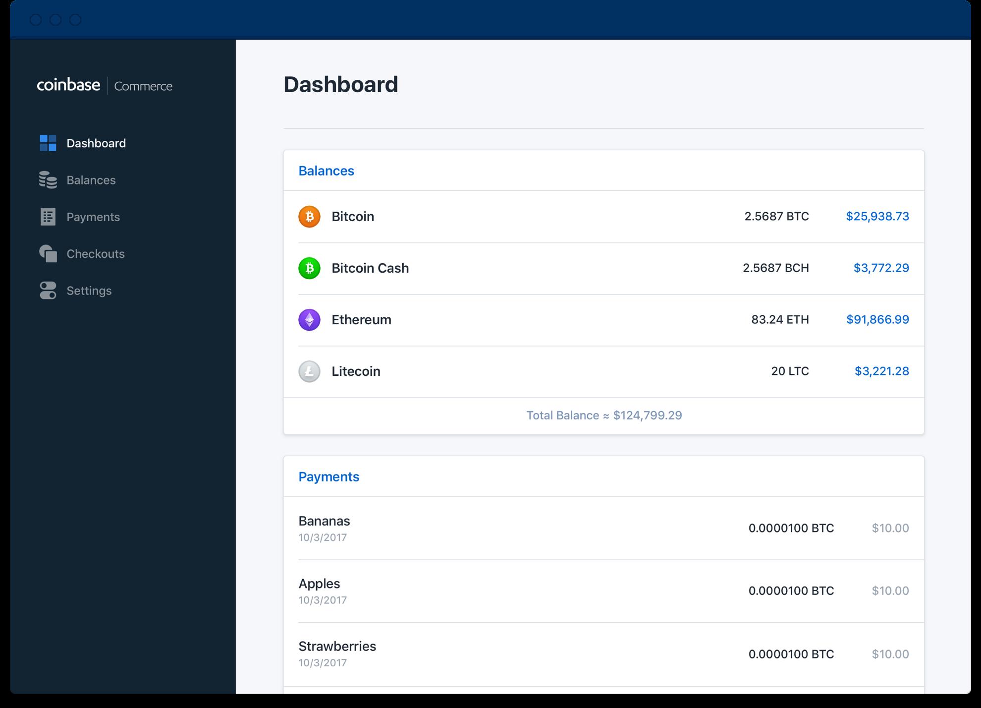 Coinbase Commerce user dashboard