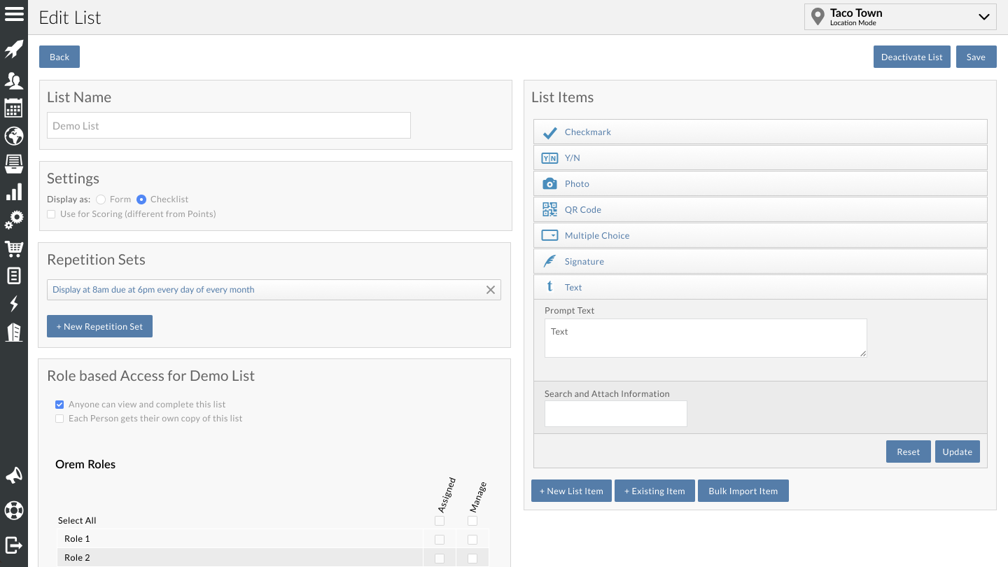 List and Form builder interface available through our desktop web app.
