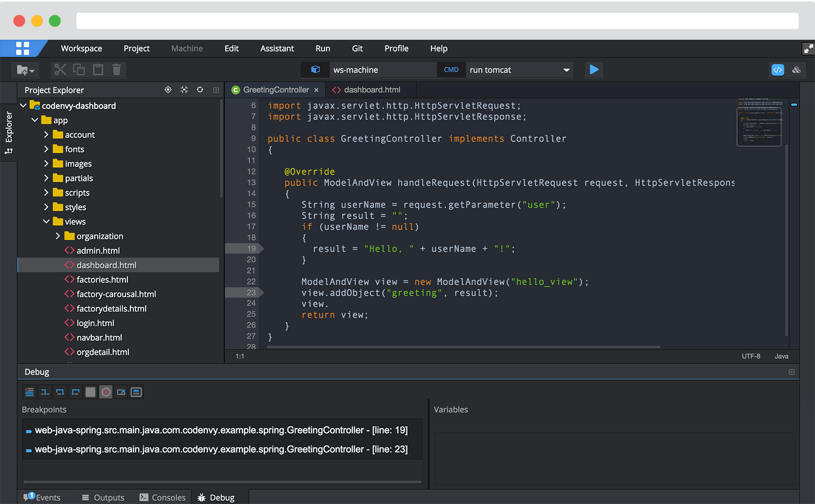 Codenvy's web IDE includes intellisense, refactoring and debugging.