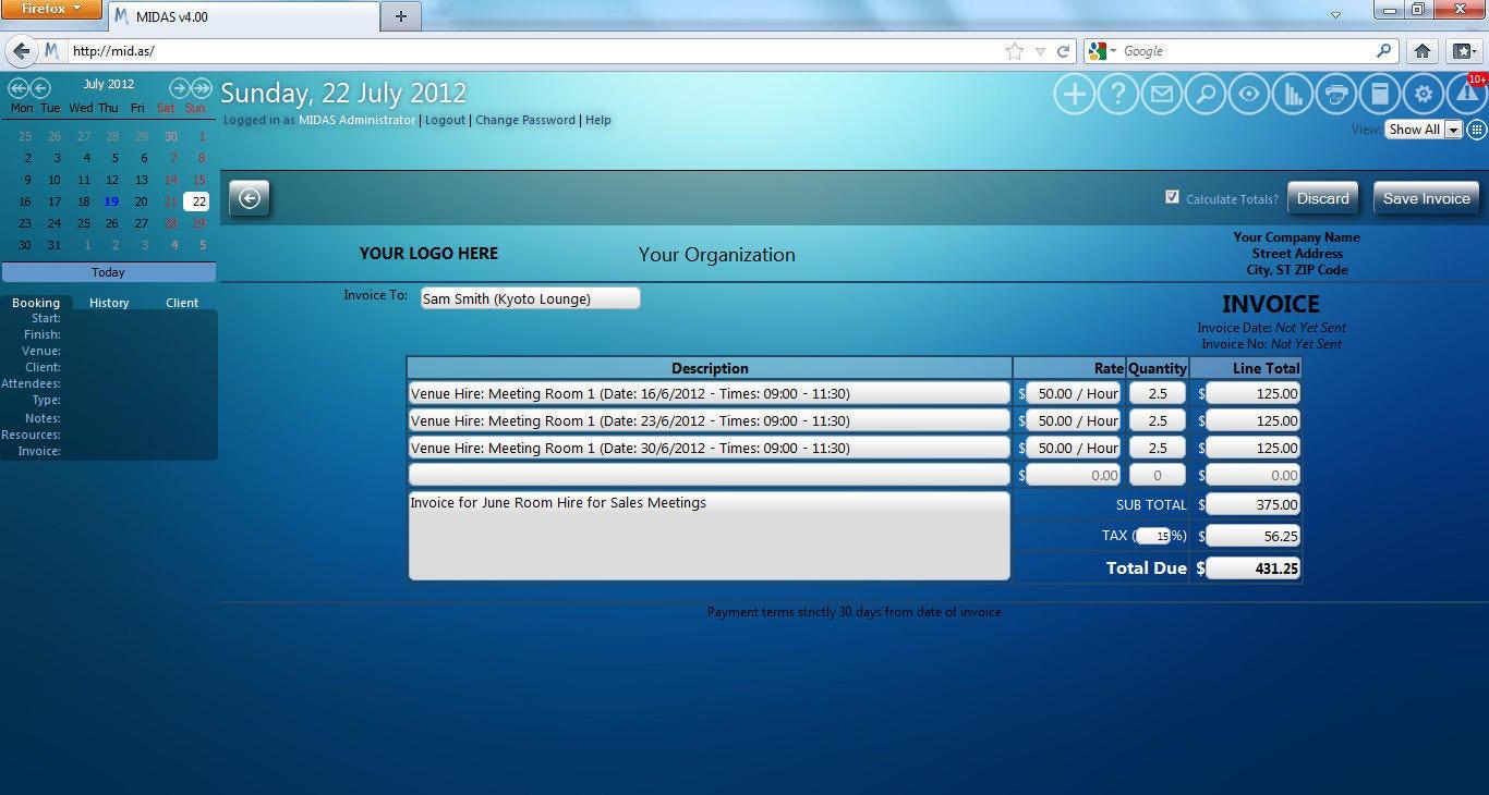 MIDAS Software - Invoice