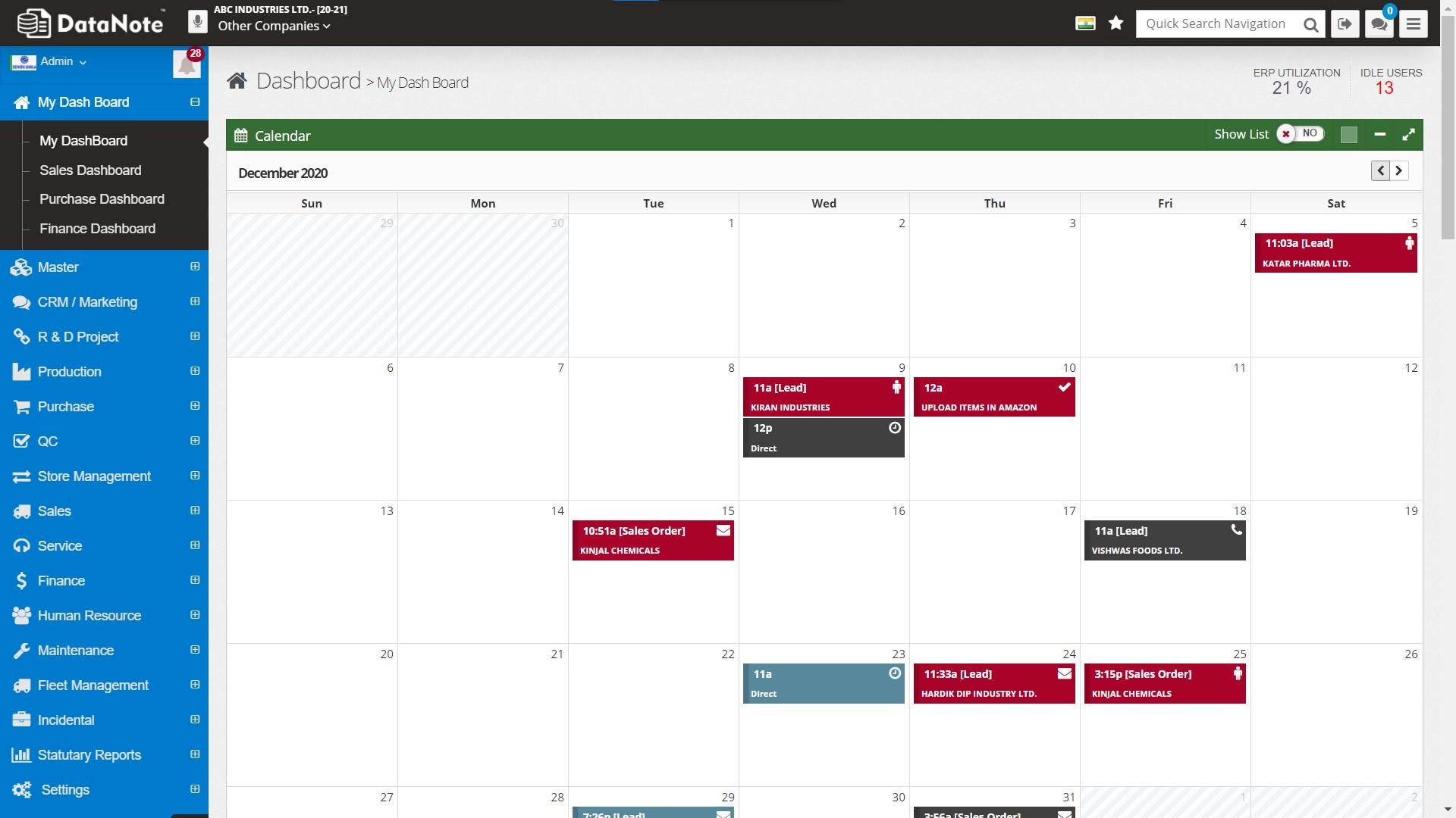 User wise Calendar for Task Management
