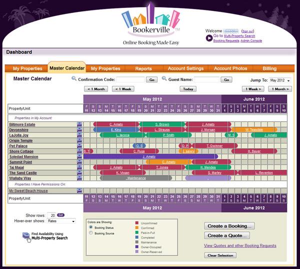 Master calendar view