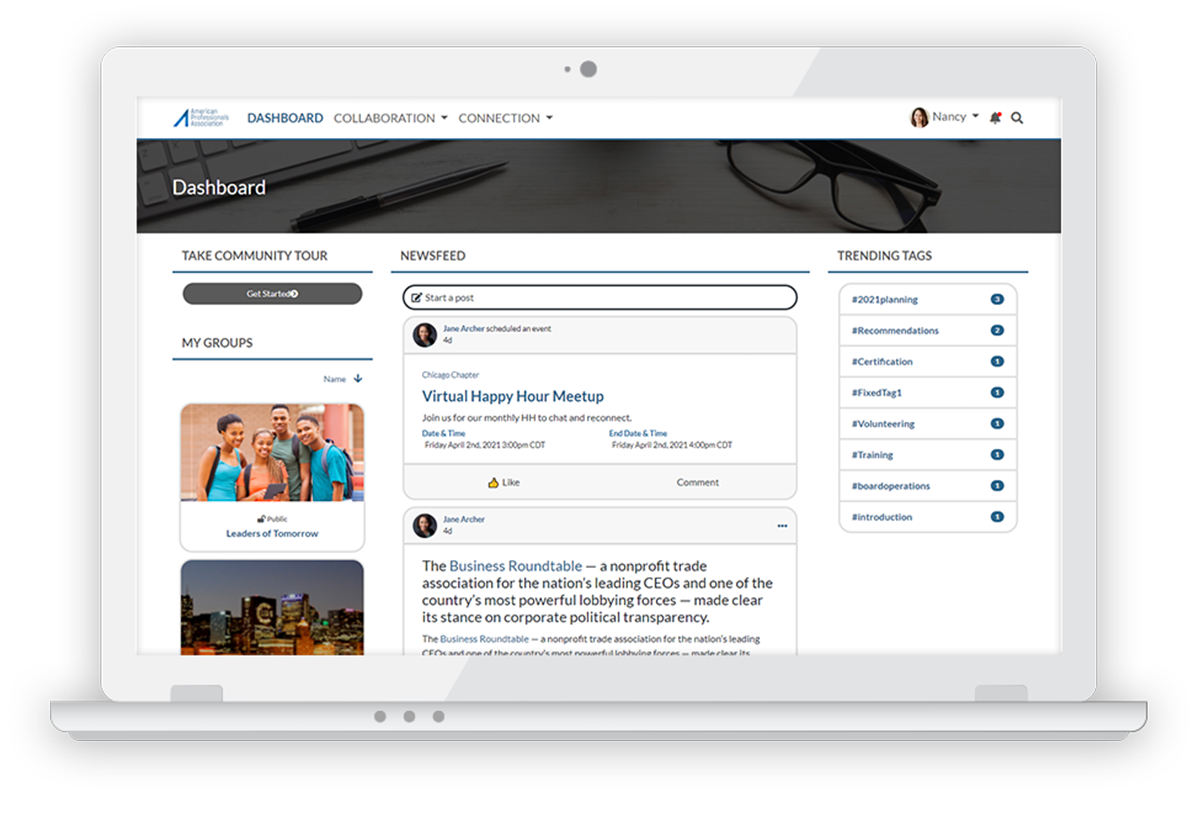 Personify Community screenshot: Newsfeeds allow users to quickly and easily see what's going on in your community and interact with content, including activity from forums, events, profile posts and file uploads.