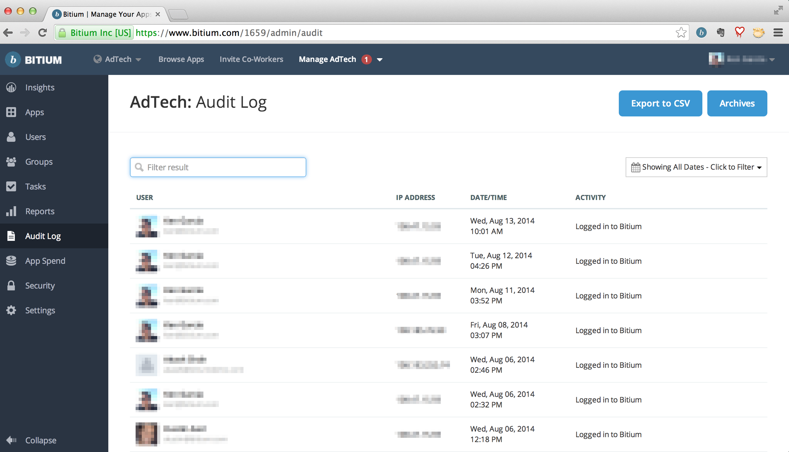 Admins can monitor employees' activities through Bitium's Audit Logs