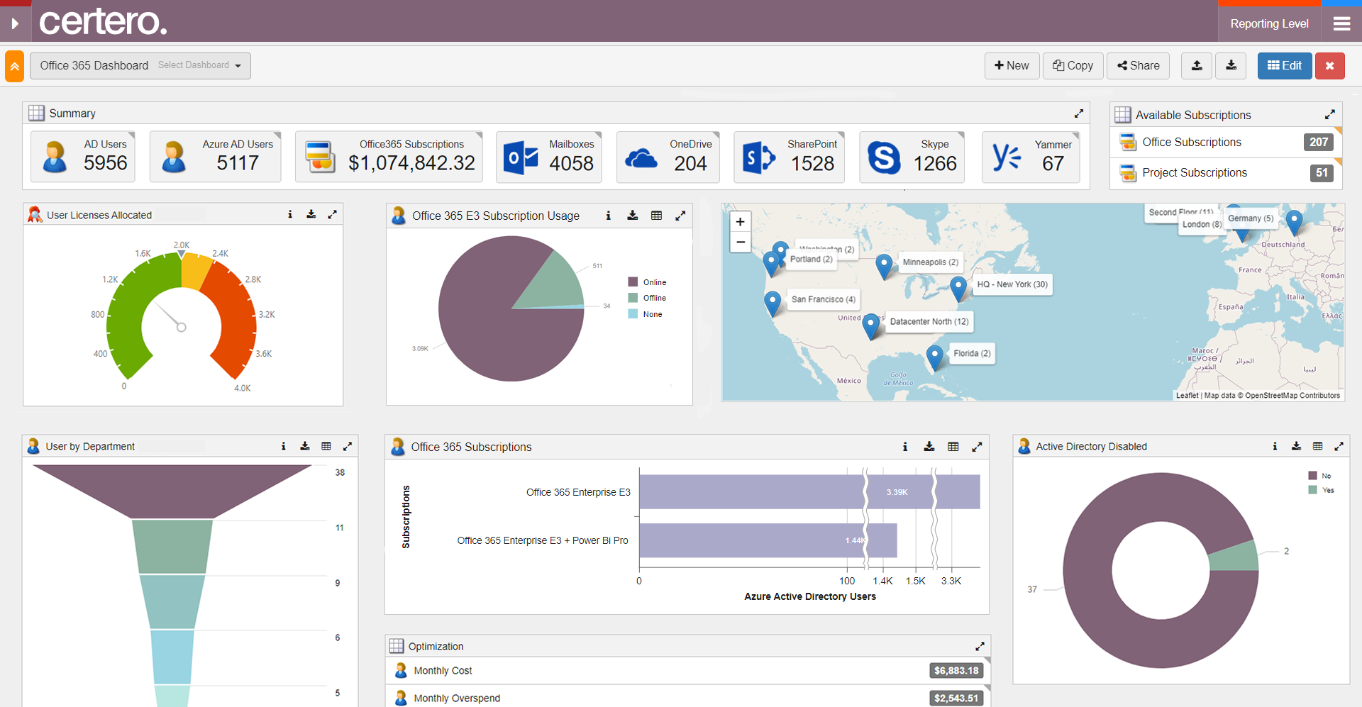 Certero for SaaS Software - O365 usage, cost & potential for optimization dashboard. Easily customize & share dashboards, with near-infinite reporting options and the ability to drill-down into underlying data, so evidence is never far away from the reports, maintained in real-time.