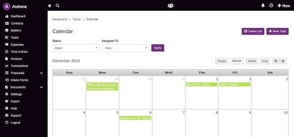 Lawgro tasks in calendar