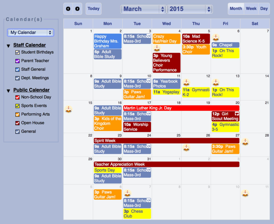 Gradelink – View and share event calendar