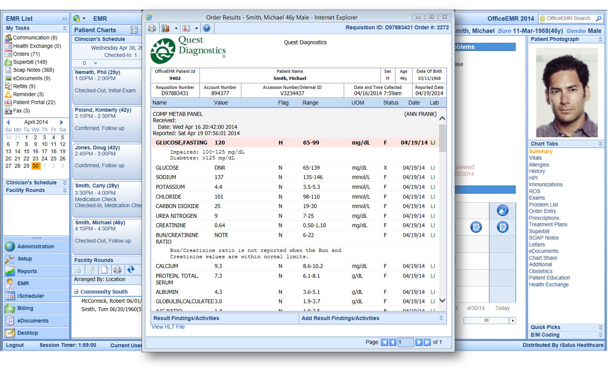 The EHS system includes lab entry and order results management