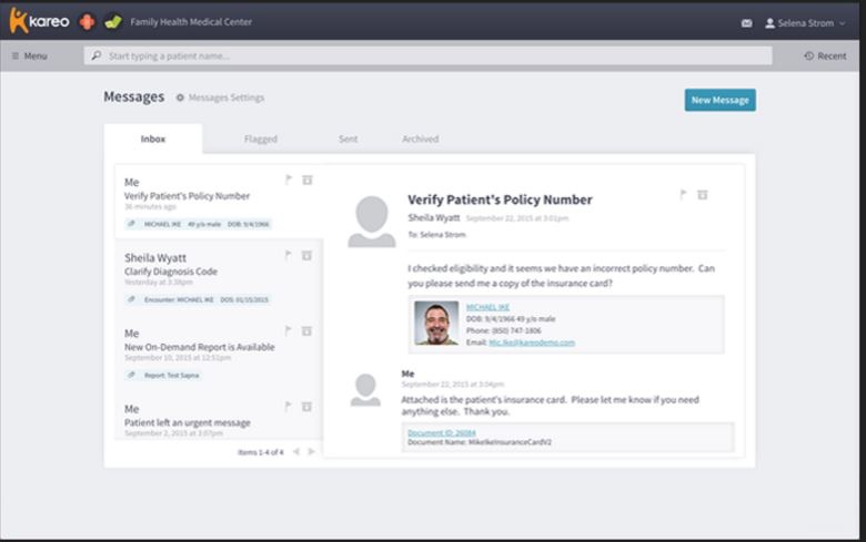 Kareo - Secure messaging via chat functionality